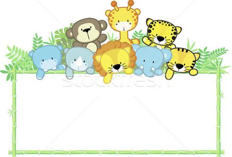 Animal Frame Wallpaper - baby animals safari frame vector illustration