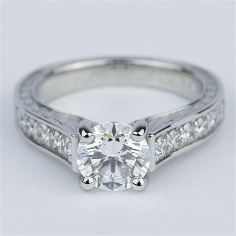 vintage floral design diamond engagement ring  carat