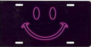 Neon Pink Smiley Face License Plate [T3070NR] $16 99