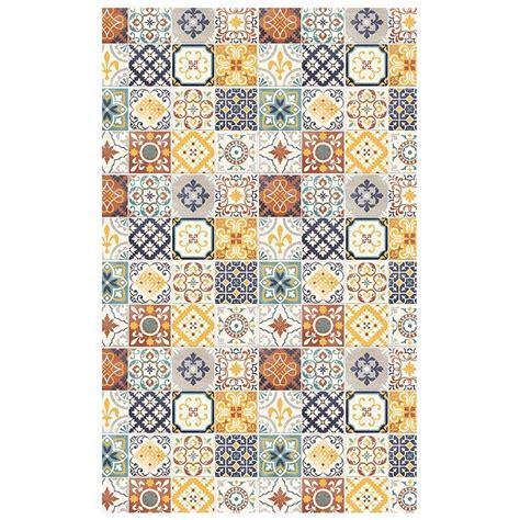 cuisine vert gris tapis motifs carreaux de ciment jaune 100x60cm toodoo tapis cuisine tapis salle de bain pas