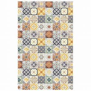Tapis Vinyl Carreaux De Ciment Pas Cher : tapis motifs carreaux de ciment jaune 100x60cm toodoo ~ Preciouscoupons.com Idées de Décoration