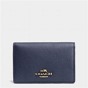 Coach business card case in crossgrain leather in blue lyst for Business card holder coach