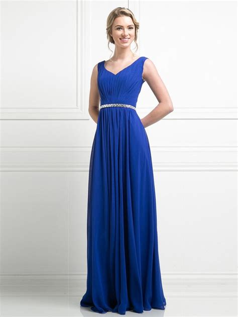 Zara Ruched V Neck Jeweled Waist Royal Blue Dress | Royal ...