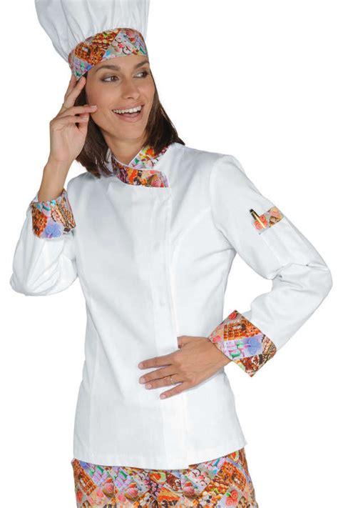 tenue de cuisine veste chef femme snaps blanc delicious 100 coton