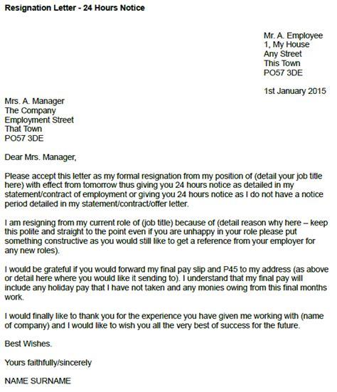 resignation letter   hours notice toresigncom