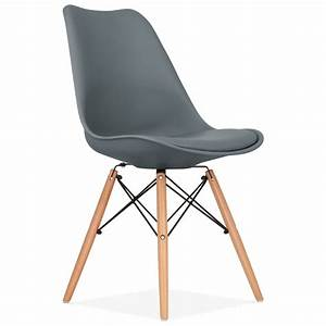 grey soft pad dining chair with dsw style wood legs With salle À manger contemporaineavec chaise grise moderne