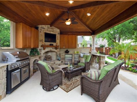 pool patios ideas covered patio with outdoor kitchen
