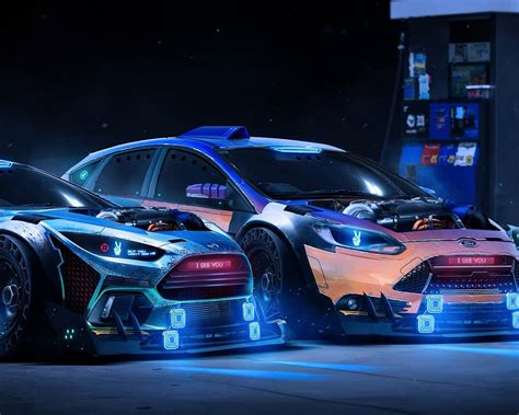 wallpaper ford focus rs  neon supercars  full