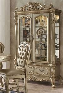 Dresden Luxury Ornate Formal Curio Cabinet In Antique Gold
