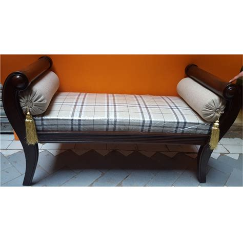 settee lounge solid sheesham wood handcrafted backless inner arms chaise