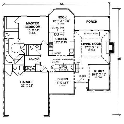 traditional home plan  bedrms  baths  sq ft
