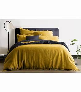 Housse De Couette En Lin : housse de couette 100 lin jaune moutarde my little bed ~ Melissatoandfro.com Idées de Décoration