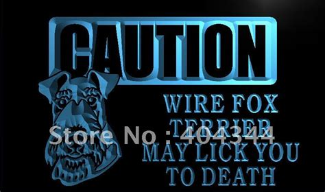 neon signs for home decor lm194 caution wire fox terrier led neon light sign