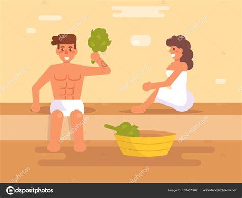 ein mann sauna mann und frau in der sauna stockvektor 169 annaviolet 187407362