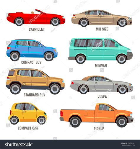 Car Types Vector Flat Icons Automobile Stock Vector