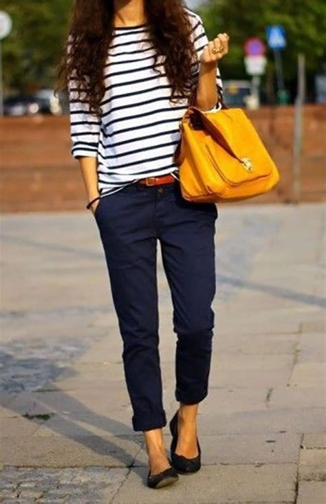Casual Perfection Navy Stripes And Yellow - StyleFrizz