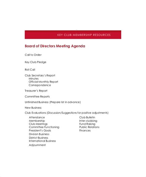 board  directors meeting agenda template   word