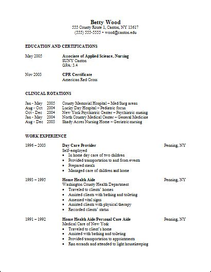 Undergraduate Nursing Student Resume by Career Services Sle Resumes