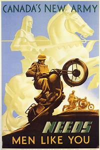 Canada's New Army - WW2 Motorcycle Propaganda Poster ...