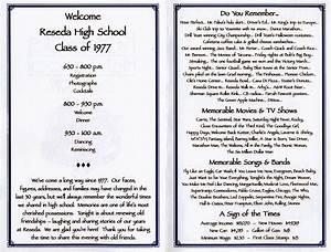 30th reunion program reseda high school class of 1977 for Class reunion program template