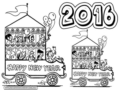 Happy New Year 2016 Coloring Pages Printable