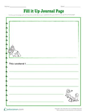 fill it up journal page worksheet education
