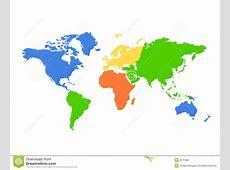 Mapa De Mundo Dos Continentes Colorido Ilustração do