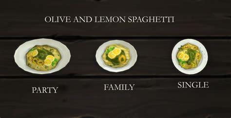 cuisine customiser mod the sims olive and lemon spaghetti custom food