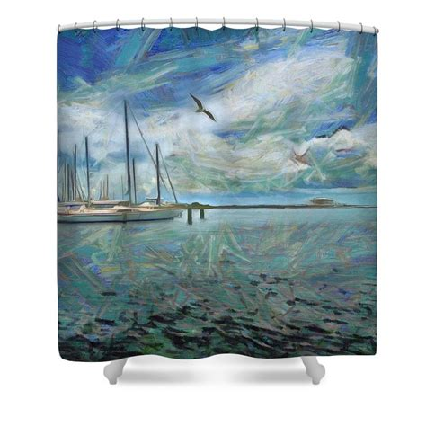 waterfront view shower curtain for sale from