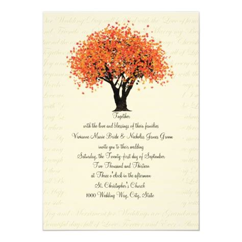 Autumn Tree Dancing Blooms Wedding Invitation Zazzle com
