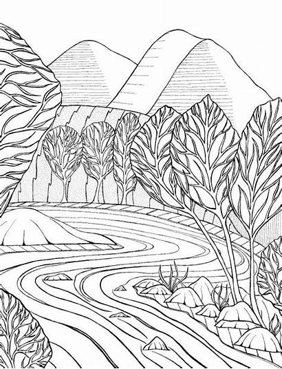 Coloring Adult Stream Mountain Pages Printable Scene