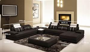 Canape Angle Cuir Blanc : deco in paris canape d angle cuir noir et blanc design ~ Farleysfitness.com Idées de Décoration