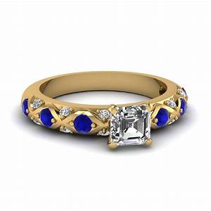 round cut diamond cross band side stone engagement ring With sapphire engagement rings with wedding band