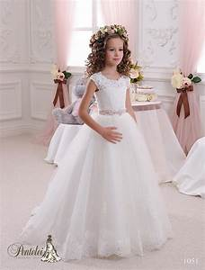 2016 kids wedding dresses with cap sleeves jewel neck for Girls wedding dress