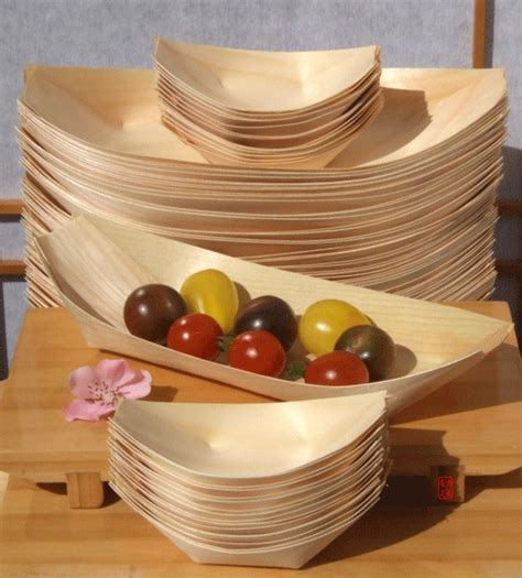 canapé ées 50 bamboo wood boats large standard for foods snacks