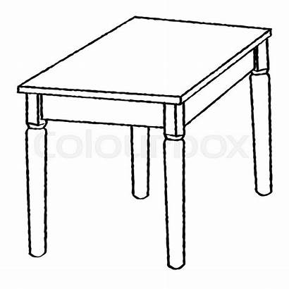 Table Drawing Coloring Sketch Simple Line Illustration