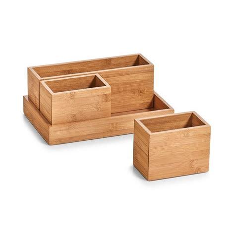 set de boites organiseur rangement salle de bains bois