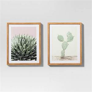 "Framed Cactus Wall Print 2pk White/Green 20""x16"" - Project"