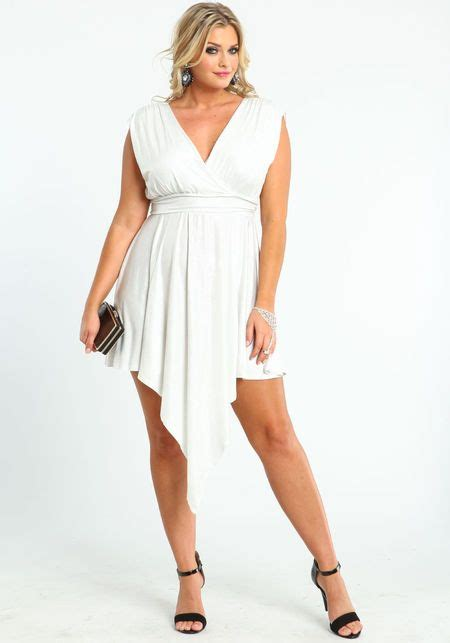 Plus Size Glitter Waterfall Dress White Large Plus