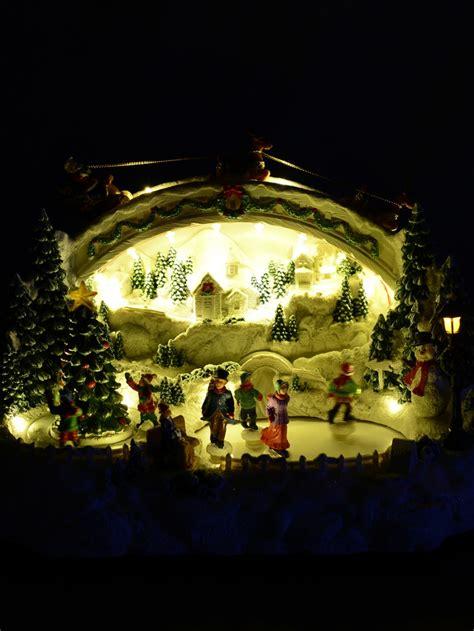 illuminated animated ice skating winter christmas eve