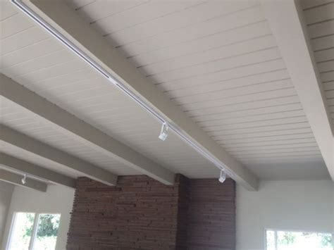 White beams, track lighting   West Point Drive   Pinterest