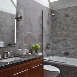 Large Gray Subway Tile Bathroom