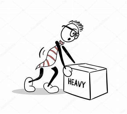 Lifting Cartoon Heavy Box Vector Illustration Vectorfusionart