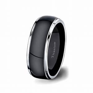 mens wedding band black titanium ring 8mm dark surface two With mens black titanium wedding rings