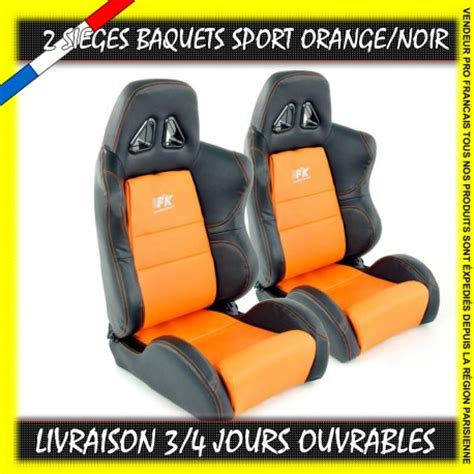 adresse siege orange 2 sièges baquets sport simili cuir orange blanc