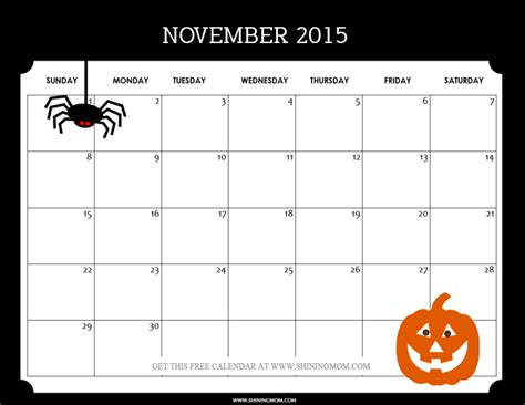 feel    november  monthly calendar