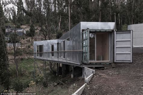 hillside cabin plans australia home is made from shipping containers