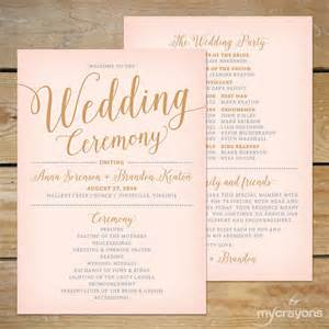 fan programs wedding blush pink and gold wedding program fan printable wedding