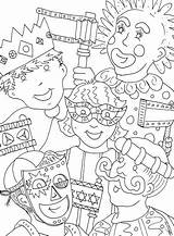 Gras Mardi Coloring Pages Children Clown sketch template