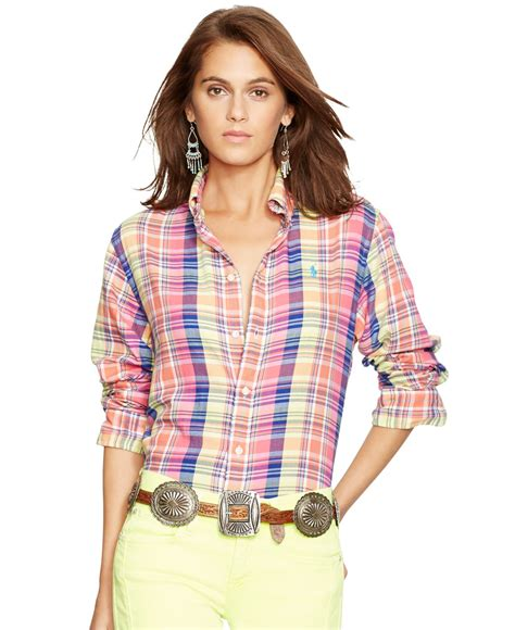 polo ralph relaxed fit cotton plaid shirt lyst